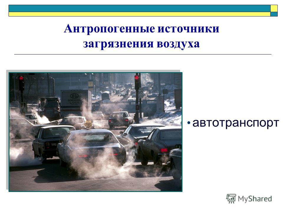 автотранспорт Антропогенные источники загрязнения воздуха
