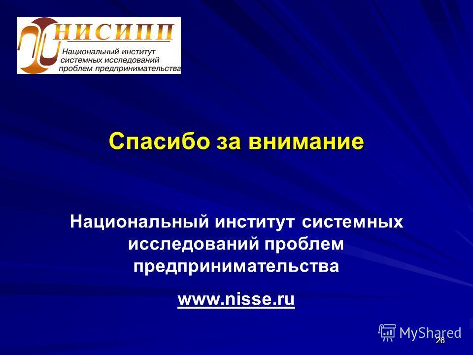 26 Спасибо за внимание Национальный институт системных исследований проблем предпринимательства www.nisse.ru