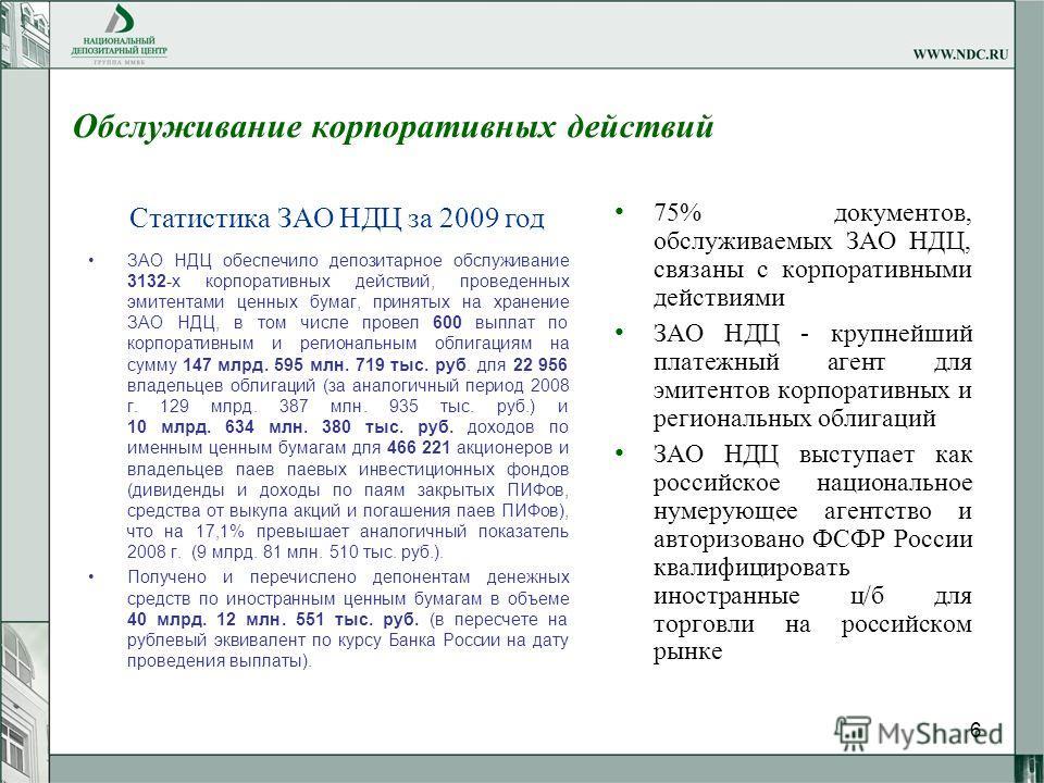 6 Обслуживание корпоративных действий 75% документов, обслуживаемых ЗАО НДЦ, связаны с корпоративными действиями ЗАО НДЦ - крупнейший платежный агент для эмитентов корпоративных и региональных облигаций ЗАО НДЦ выступает как российское национальное н