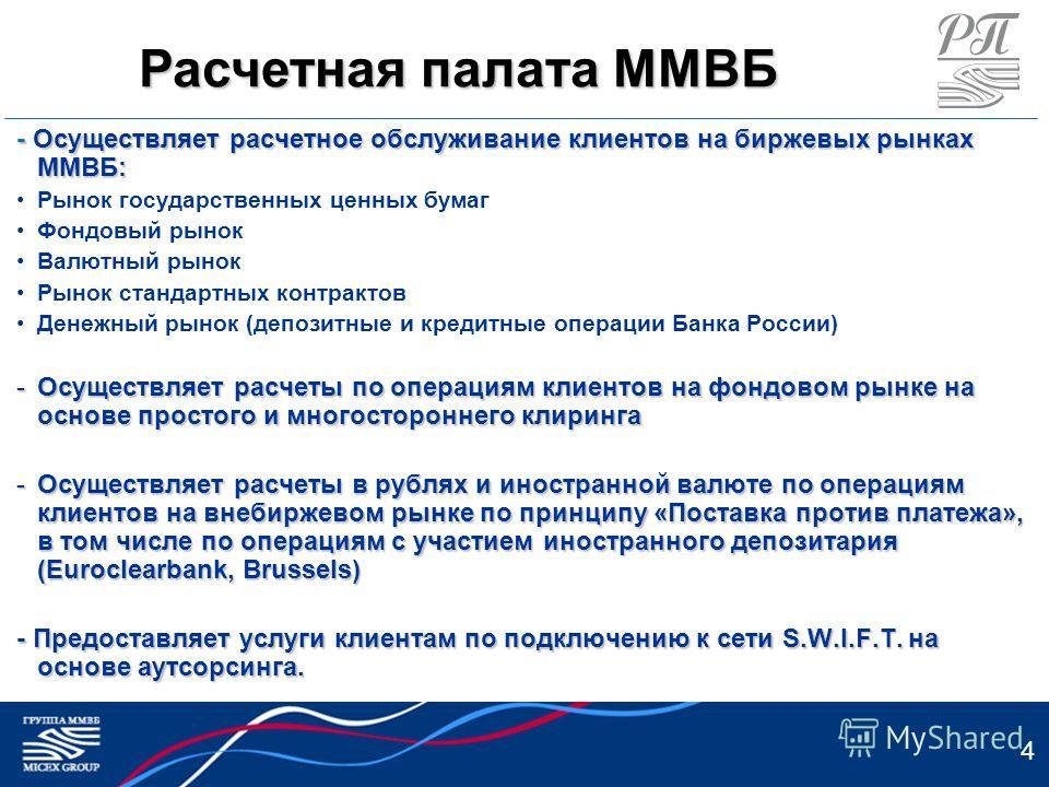 4 - Осуществляет расчетное обслуживание клиентов на биржевых рынках ММВБ: Рынок государственных ценных бумаг Фондовый рынок Валютный рынок Рынок стандартных контрактов Денежный рынок (депозитные и кредитные операции Банка России) -Осуществляет расчет
