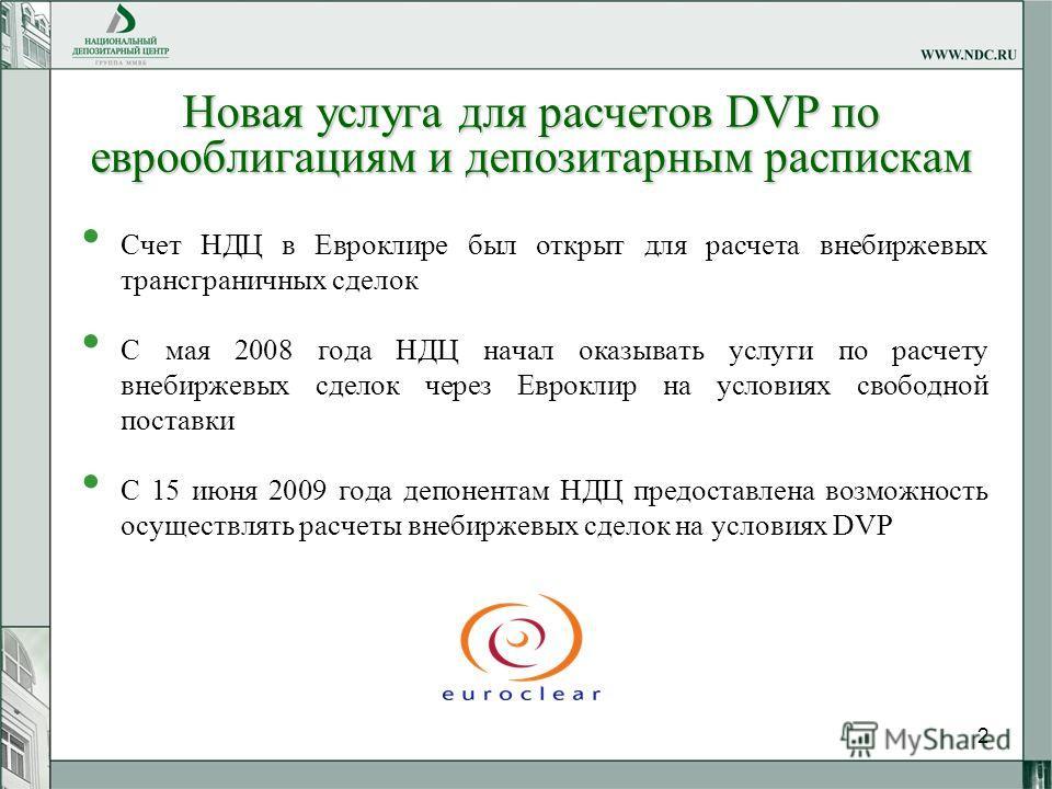 2 Новая услуга для расчетов DVP по еврооблигациям и депозитарным распискам Счет НДЦ в Евроклире был открыт для расчета внебиржевых трансграничных сделок С мая 2008 года НДЦ начал оказывать услуги по расчету внебиржевых сделок через Евроклир на услови