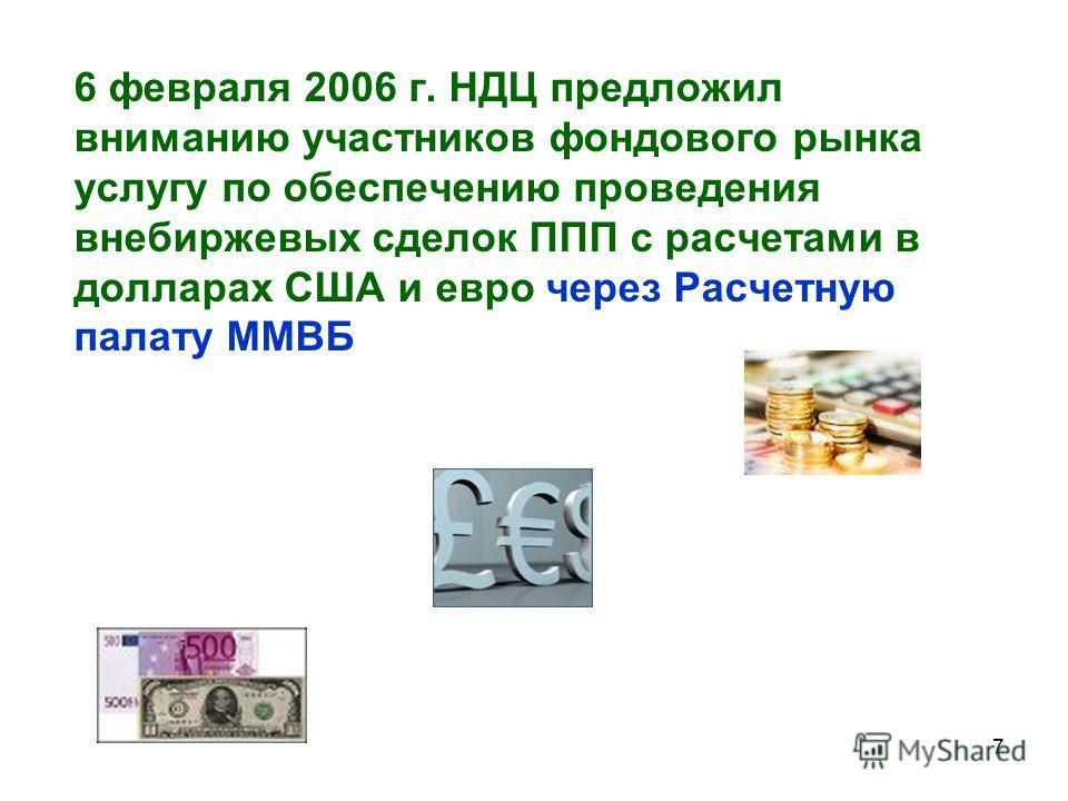 7 6 февраля 2006 г. НДЦ предложил вниманию участников фондового рынка услугу по обеспечению проведения внебиржевых сделок ППП с расчетами в долларах США и евро через Расчетную палату ММВБ