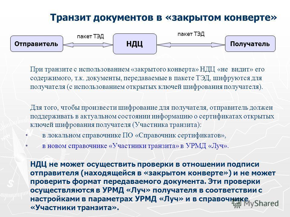 Транзит документов в «закрытом конверте» пакет ТЭД При транзите с использованием «закрытого конверта» НДЦ «не видит» его содержимого, т.к. документы, передаваемые в пакете ТЭД, шифруются для получателя (с использованием открытых ключей шифрования пол