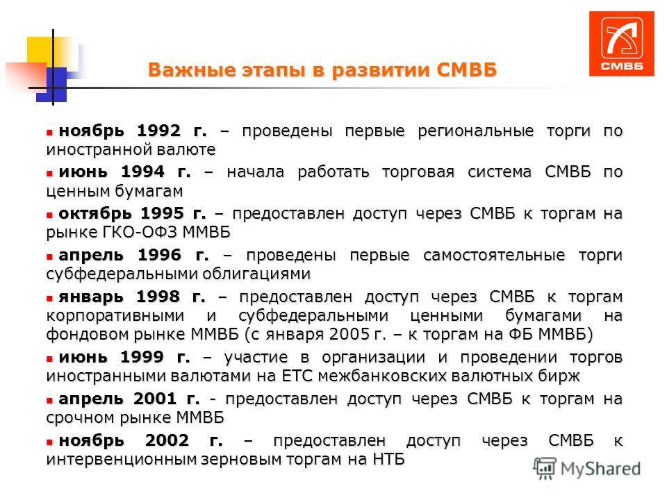Важные этапы в развитии СМВБ ноябрь 1992 г. – проведены первые региональные торги по иностранной валюте ноябрь 1992 г. – проведены первые региональные торги по иностранной валюте июнь 1994 г. – начала работать торговая система СМВБ по ценным бумагам