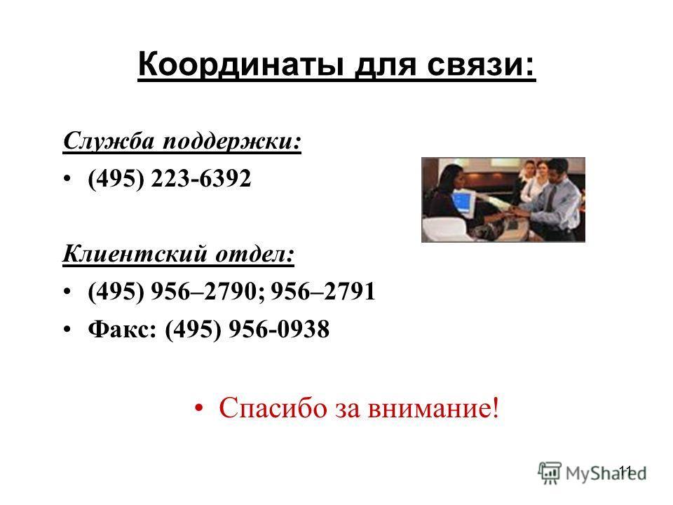 11 Координаты для связи: Служба поддержки: (495) 223-6392 Клиентский отдел: (495) 956–2790; 956–2791 Факс: (495) 956-0938 Спасибо за внимание!