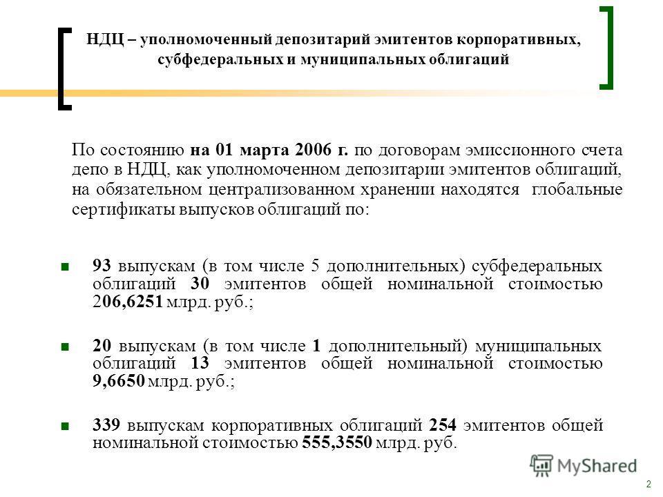 2 НДЦ – уполномоченный депозитарий эмитентов корпоративных, субфедеральных и муниципальных облигаций 93 выпускам (в том числе 5 дополнительных) субфедеральных облигаций 30 эмитентов общей номинальной стоимостью 206,6251 млрд. руб.; 20 выпускам (в том