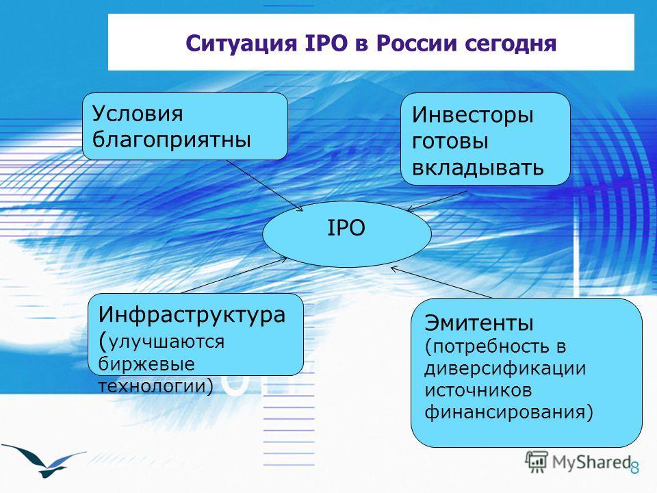 8 Ситуация IPO в России сегодня IPO Условия благоприятны Эмитенты (потребность в диверсификации источников финансирования) Инфраструктура ( улучшаются биржевые технологии) Инвесторы готовы вкладывать