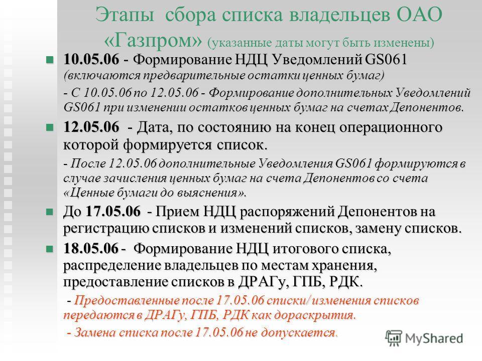 Этапы сбора списка владельцев ОАО «Газпром» (указанные даты могут быть изменены) 10.05.06 - Формирование НДЦ Уведомлений GS061 (включаются предварительные остатки ценных бумаг) - С 10.05.06 по 12.05.06 - Формирование дополнительных Уведомлений GS061