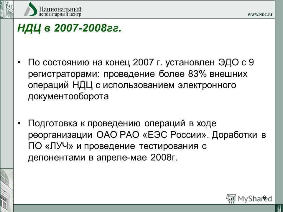 6 НДЦ в 2007-2008гг. По состоянию на конец 2007 г. установлен ЭДО с 9 регистраторами: проведение более 83% внешних операций НДЦ с использованием электронного документооборота Подготовка к проведению операций в ходе реорганизации ОАО РАО «ЕЭС России».