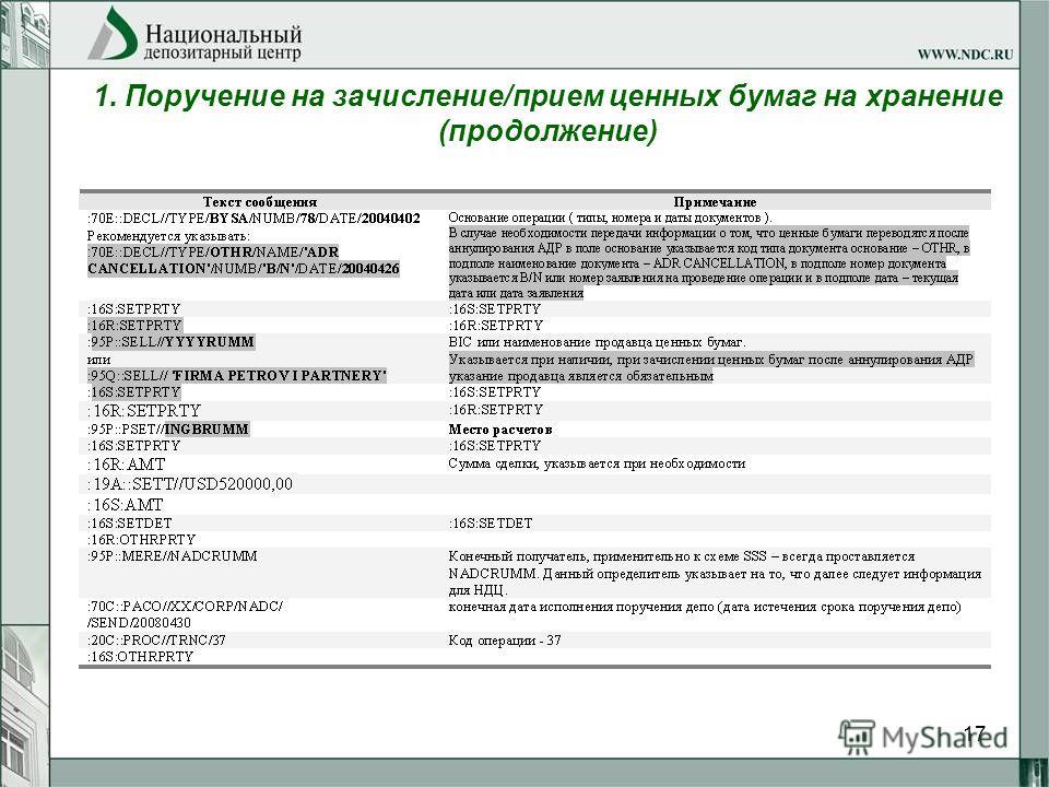 17 1. Поручение на зачисление/прием ценных бумаг на хранение (продолжение)