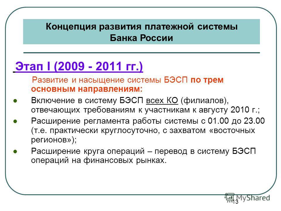 13 Этап I (2009 - 2011 гг.) Развитие и насыщение системы БЭСП по трем основным направлениям: Включение в систему БЭСП всех КО (филиалов), отвечающих требованиям к участникам к августу 2010 г.; Расширение регламента работы системы с 01.00 до 23.00 (т.