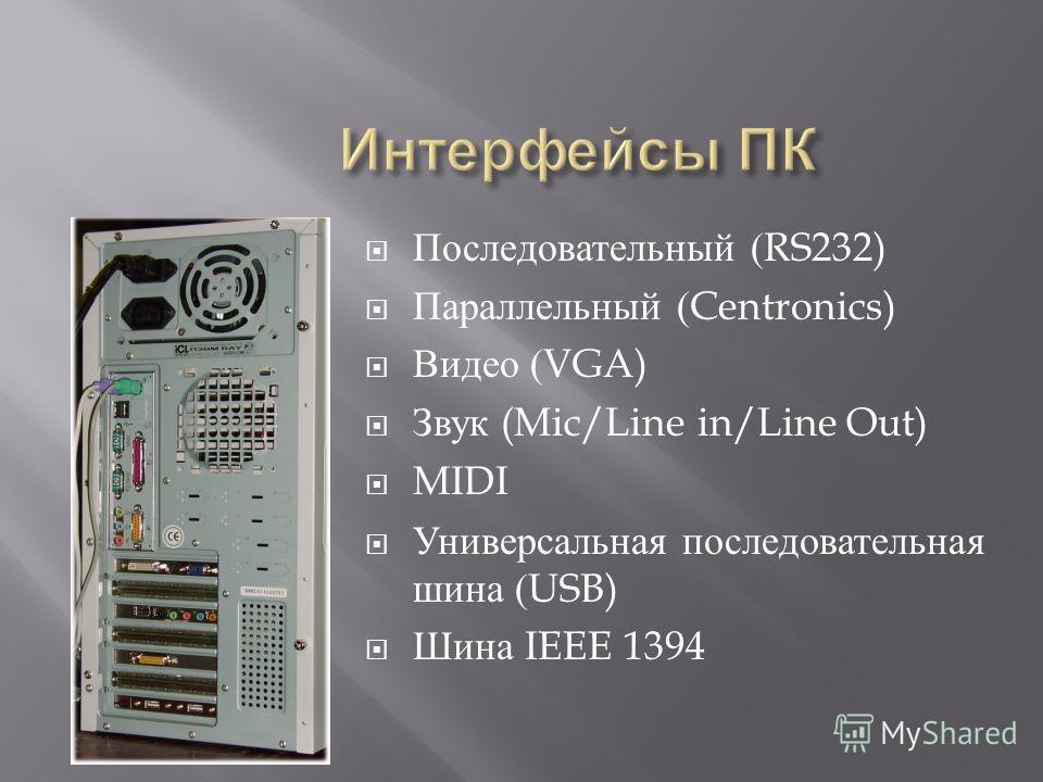 Последовательный (RS232) Параллельный (Centronics) Видео (VGA) Звук (Mic/Line in/Line Out) MIDI Универсальная последовательная шина (USB) Шина IEEE 1394