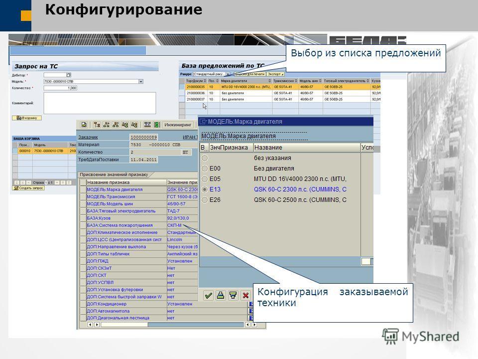 Конфигурирование Выбор из списка предложений Конфигурация заказываемой техники
