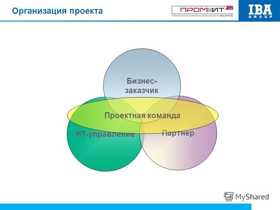 Организация проекта ИТ-управление Партнер Бизнес- заказчик Проектная команда