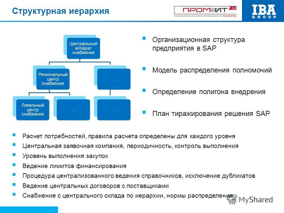 Структурная иерархия Расчет потребностей, правила расчета определены для каждого уровня Центральная заявочная компания, периодичность, контроль выполнения Уровень выполнения закупок Ведение лимитов финансирования Процедура централизованного ведения с