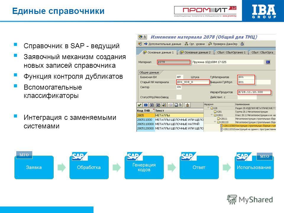Единые справочники Справочник в SAP - ведущий Заявочный механизм создания новых записей справочника Функция контроля дубликатов Вспомогательные классификаторы Интеграция с заменяемыми системами