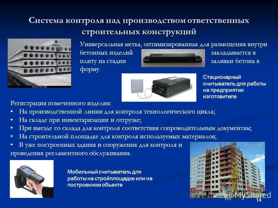 14 Система контроля над производством ответственных строительных конструкций Универсальная метка, оптимизированная для размещения внутри бетонных изделий закладывается в плиту на стадии заливки бетона в форму. Стационарный считыватель для работы на п