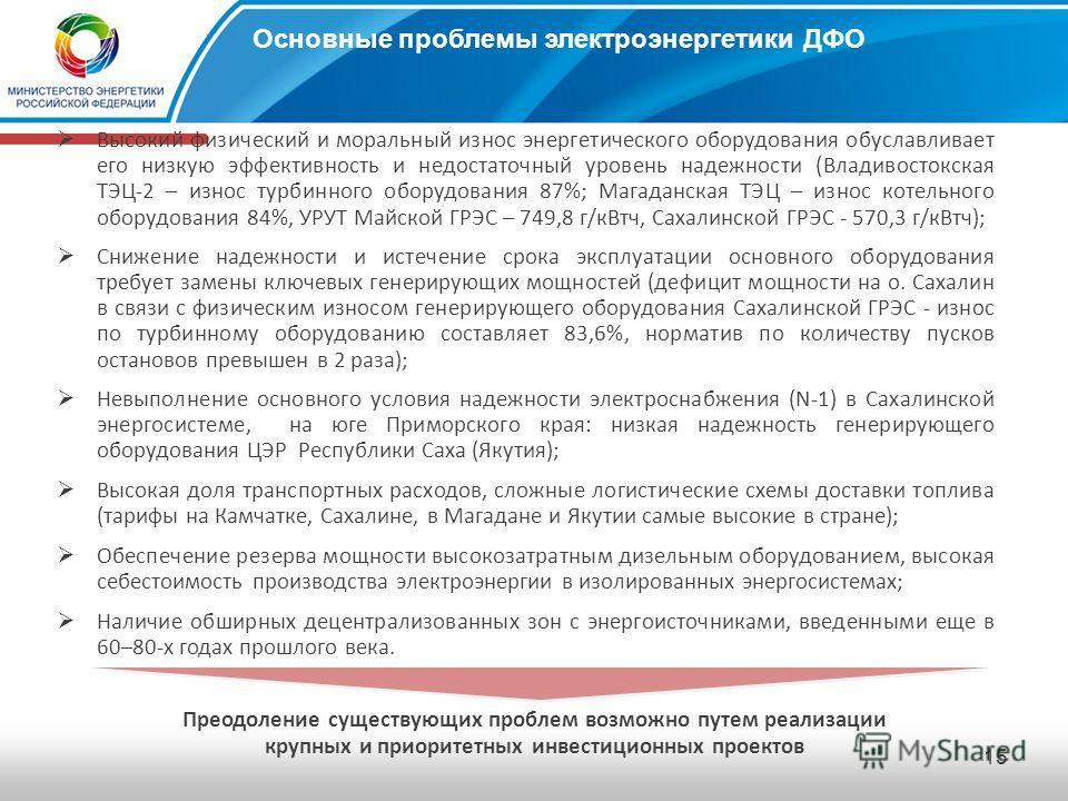 14 Характеристика ОЭС Востока Южно-Якутский энергорайон Установленная мощность618 МВт Нагрузка энергосистемы246 МВт Электропотребление в 2009 Прирост к 2008 1,377 млрд кВтч -10,4% Амурская энергосистема Установленная мощность3722 МВт Нагрузка энергос