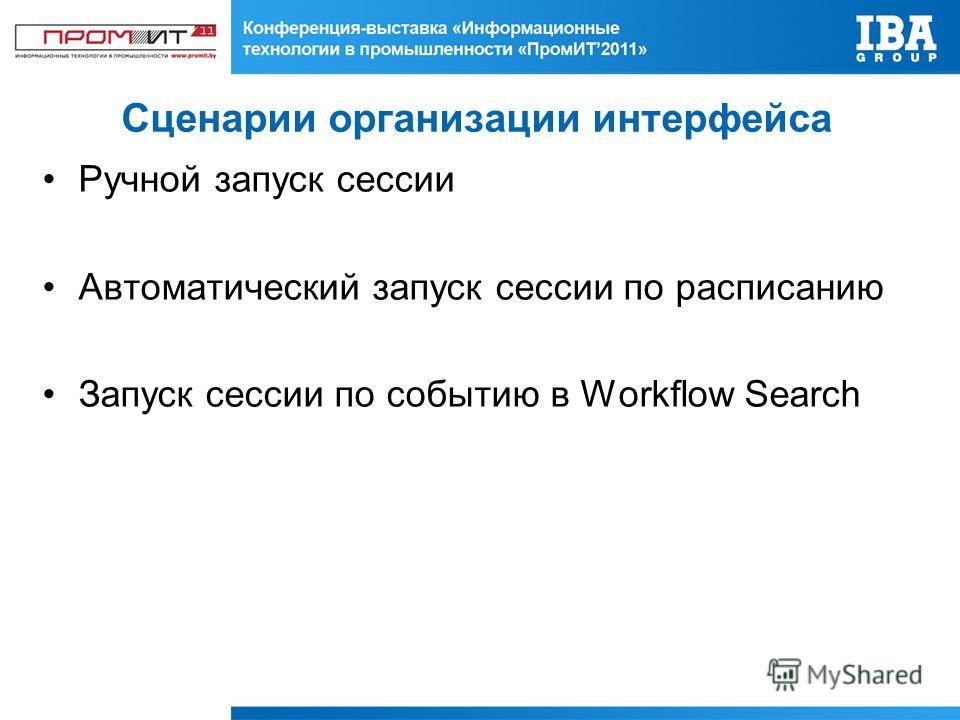Сценарии организации интерфейса Ручной запуск сессии Автоматический запуск сессии по расписанию Запуск сессии по событию в Workflow Search