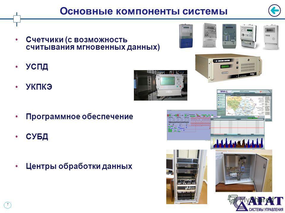 7 Основные компоненты системы Счетчики (с возможность считывания мгновенных данных) УСПД УКПКЭ Программное обеспечение СУБД Центры обработки данных