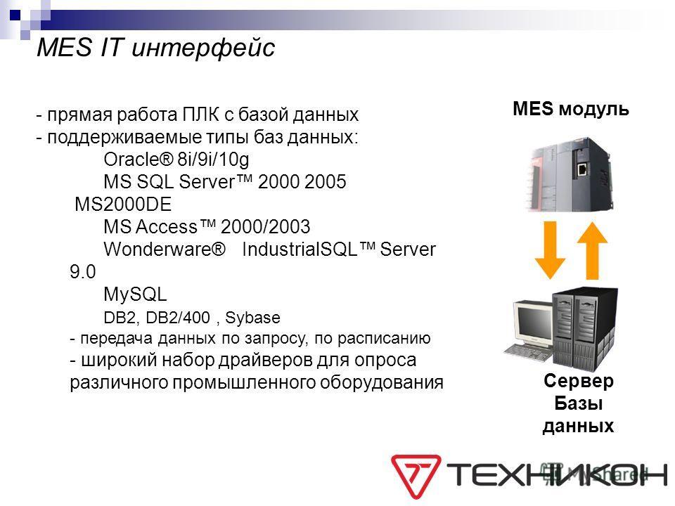 MES IT интерфейс MES модуль Сервер Базы данных - прямая работа ПЛК с базой данных - поддерживаемые типы баз данных: Oracle® 8i/9i/10g MS SQL Server 2000 2005 MS2000DE MS Access 2000/2003 Wonderware® IndustrialSQL Server 9.0 MySQL DB2, DB2/400, Sybase