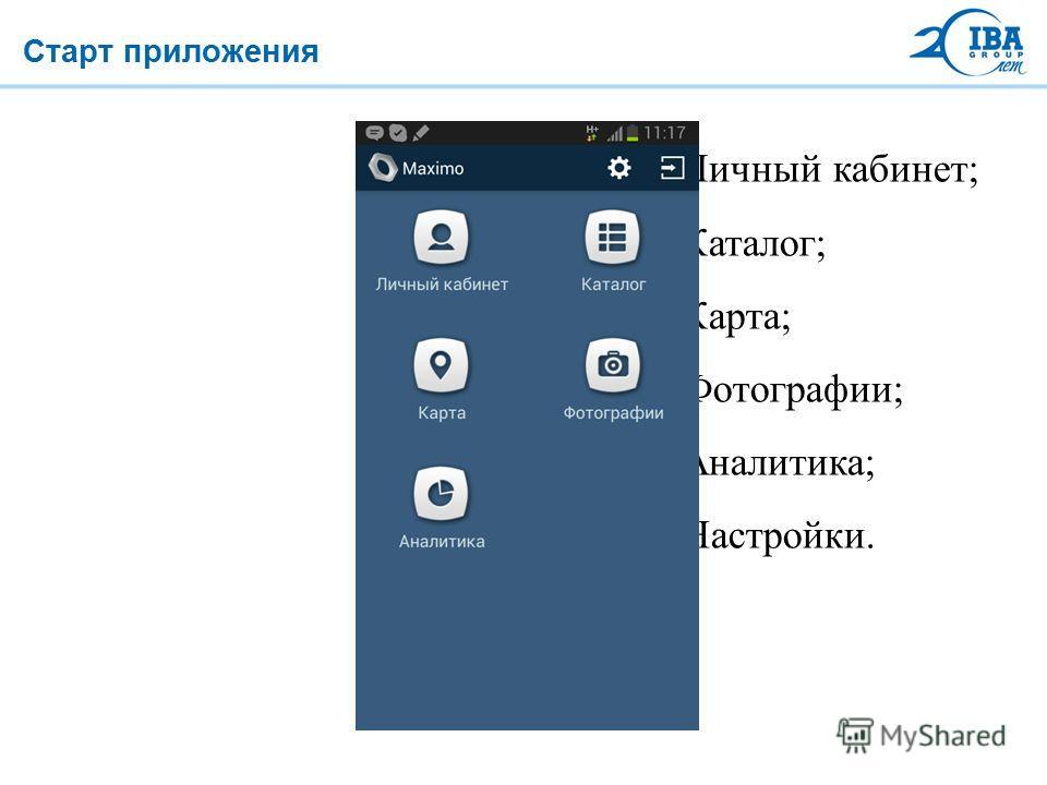 Старт приложения Личный кабинет; Каталог; Карта; Фотографии; Аналитика; Настройки.