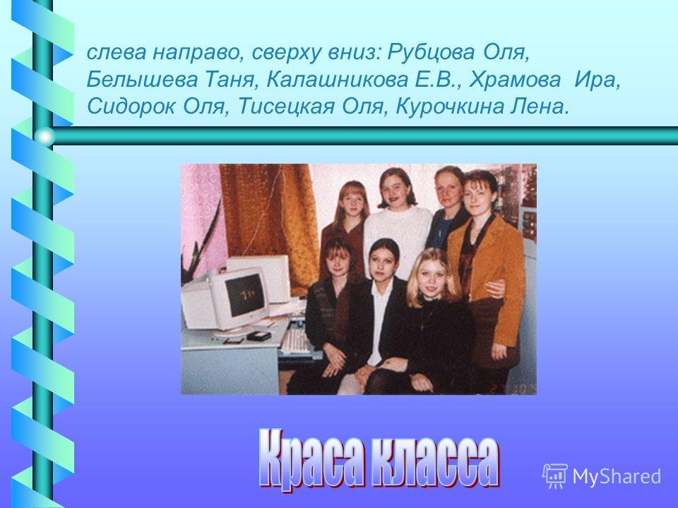 слева направо, сверху вниз: Рубцова Оля, Белышева Таня, Калашникова Е.В., Храмова Ира, Сидорок Оля, Тисецкая Оля, Курочкина Лена.