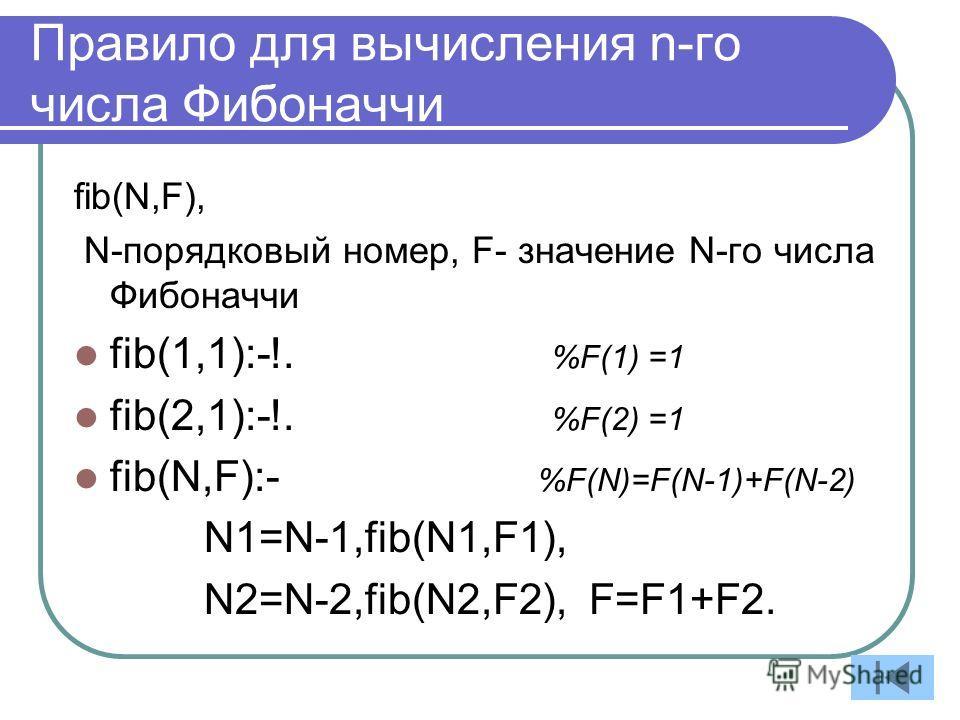 Правило для вычисления n-го числа Фибоначчи fib(N,F), N-порядковый номер, F- значение N-го числа Фибоначчи fib(1,1):-!. %F(1) =1 fib(2,1):-!. %F(2) =1 fib(N,F):- %F(N)=F(N-1)+F(N-2) N1=N-1,fib(N1,F1), N2=N-2,fib(N2,F2), F=F1+F2.