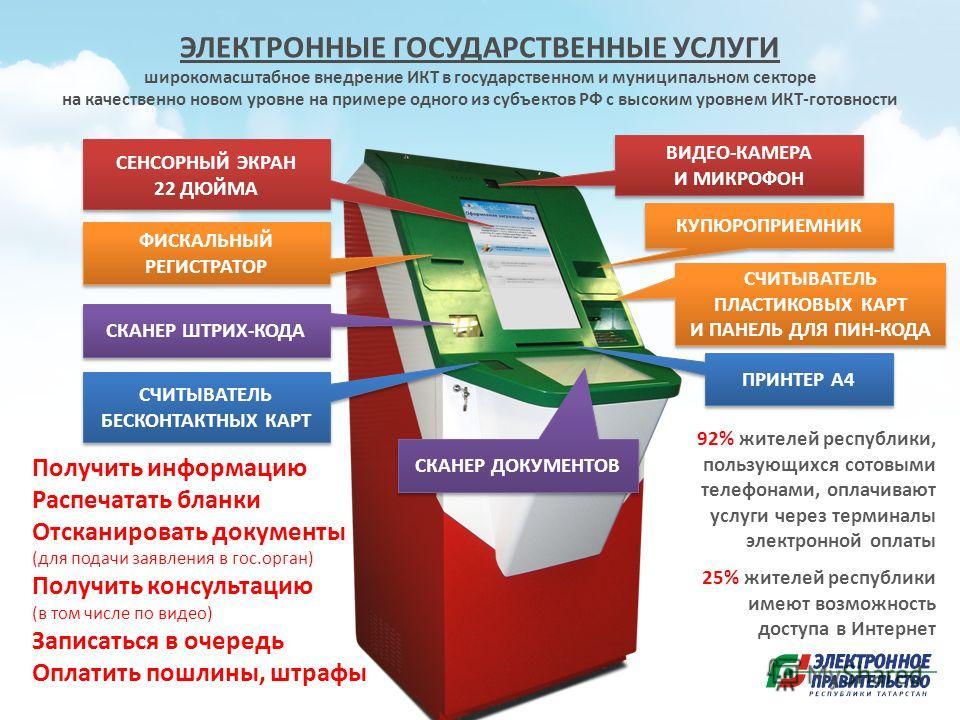 ЭЛЕКТРОННЫЕ ГОСУДАРСТВЕННЫЕ УСЛУГИ широкомасштабное внедрение ИКТ в государственном и муниципальном секторе на качественно новом уровне на примере одного из субъектов РФ с высоким уровнем ИКТ-готовности СЕНСОРНЫЙ ЭКРАН 22 ДЮЙМА ФИСКАЛЬНЫЙ РЕГИСТРАТОР