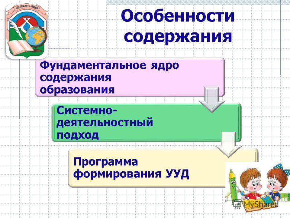 Фундаментальное ядро содержания образования Системно- деятельностный подход Программа формирования УУД Особенности содержания