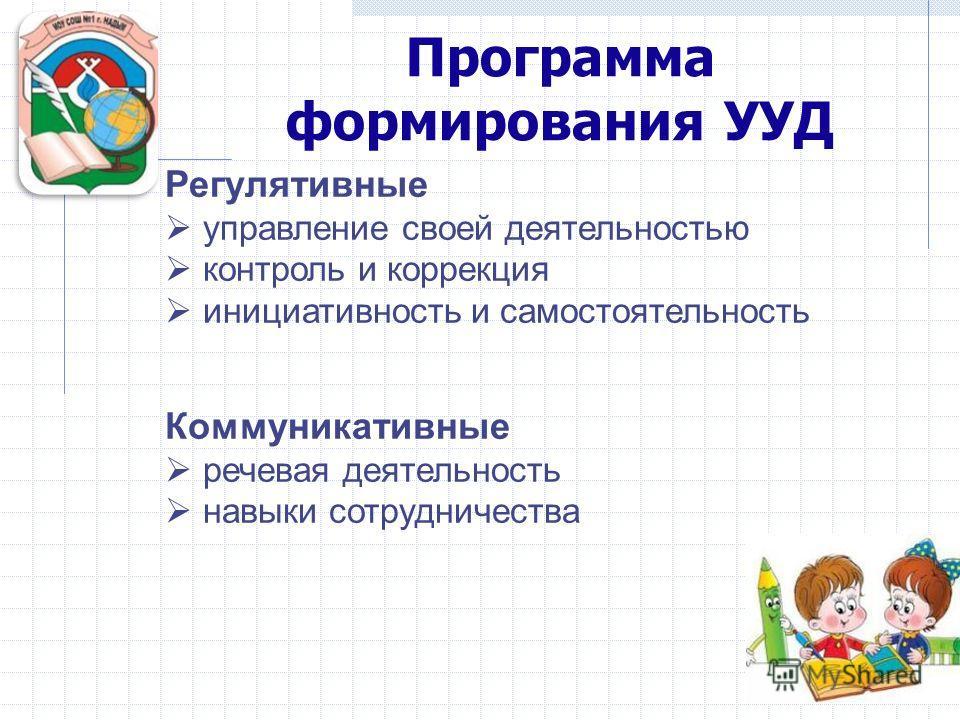 Программа формирования УУД Регулятивные управление своей деятельностью контроль и коррекция инициативность и самостоятельность Коммуникативные речевая деятельность навыки сотрудничества