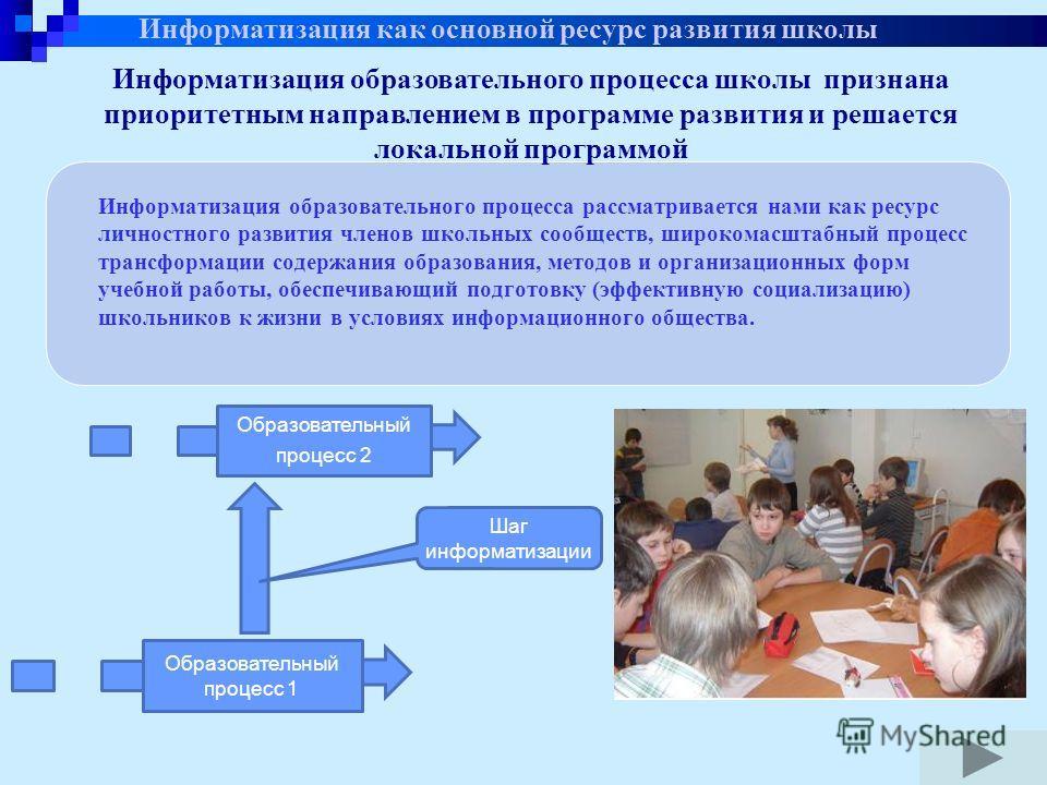 Информатизация образовательного процесса школы признана приоритетным направлением в программе развития и решается локальной программой Информатизация образовательного процесса рассматривается нами как ресурс личностного развития членов школьных сообщ