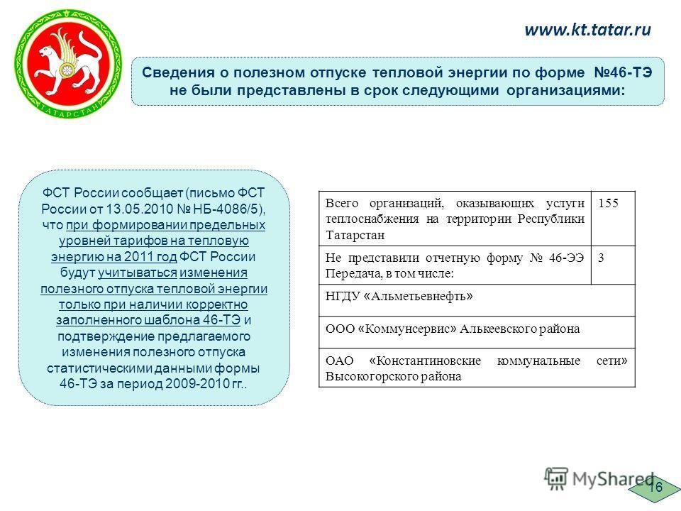 ФСТ России сообщает (письмо ФСТ России от 13.05.2010 НБ-4086/5), что при формировании предельных уровней тарифов на тепловую энергию на 2011 год ФСТ России будут учитываться изменения полезного отпуска тепловой энергии только при наличии корректно за