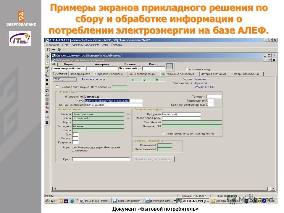 Примеры экранов прикладного решения по сбору и обработке информации о потреблении электроэнергии на базе АЛЕФ. Документ «Бытовой потребитель»