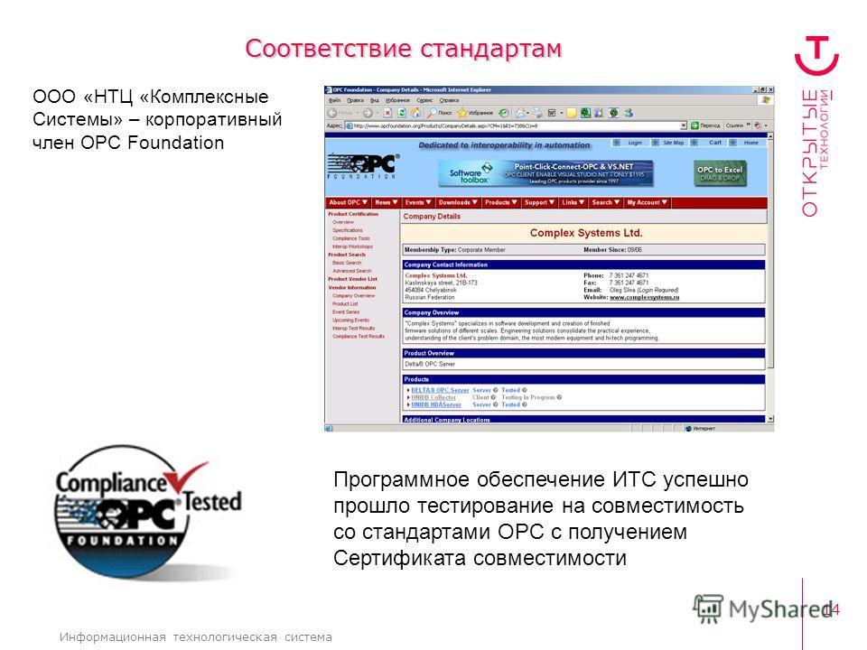 14 Информационная технологическая система Соответствие стандартам ООО «НТЦ «Комплексные Системы» – корпоративный член OPC Foundation Программное обеспечение ИТС успешно прошло тестирование на совместимость со стандартами OPC с получением Сертификата