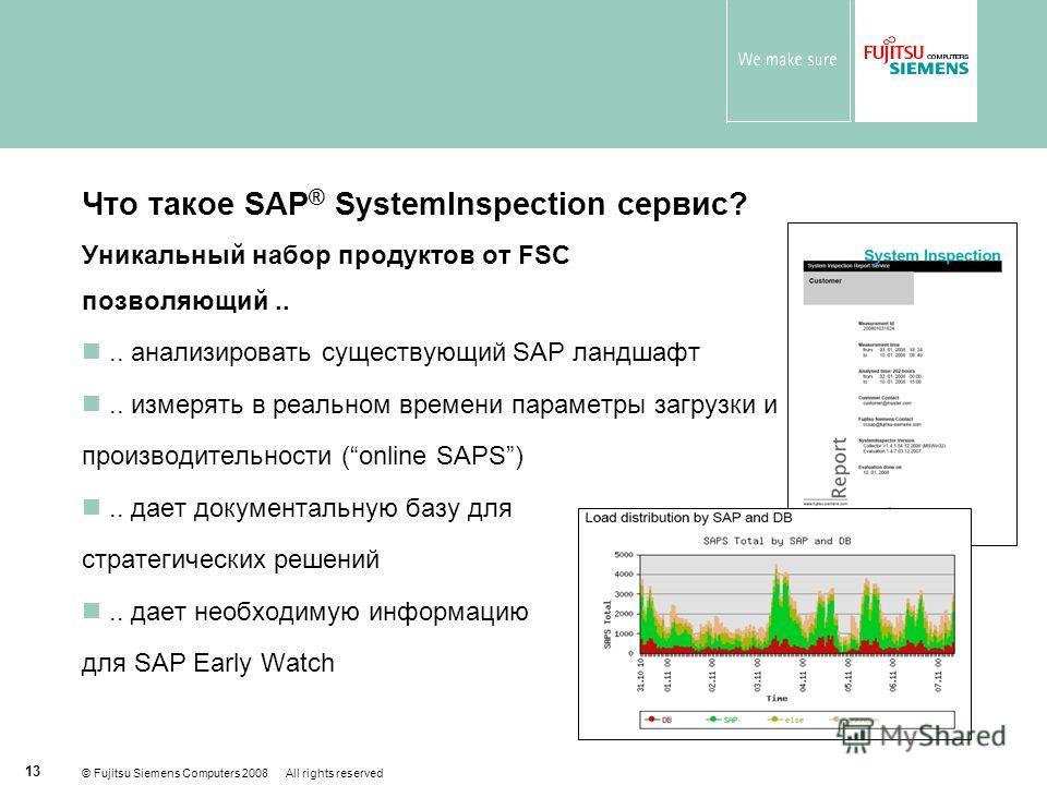 © Fujitsu Siemens Computers 2008 All rights reserved 13 Что такое SAP ® SystemInspection сервис? Уникальный набор продуктов от FSC позволяющий.... анализировать существующий SAP ландшафт.. измерять в реальном времени параметры загрузки и производител