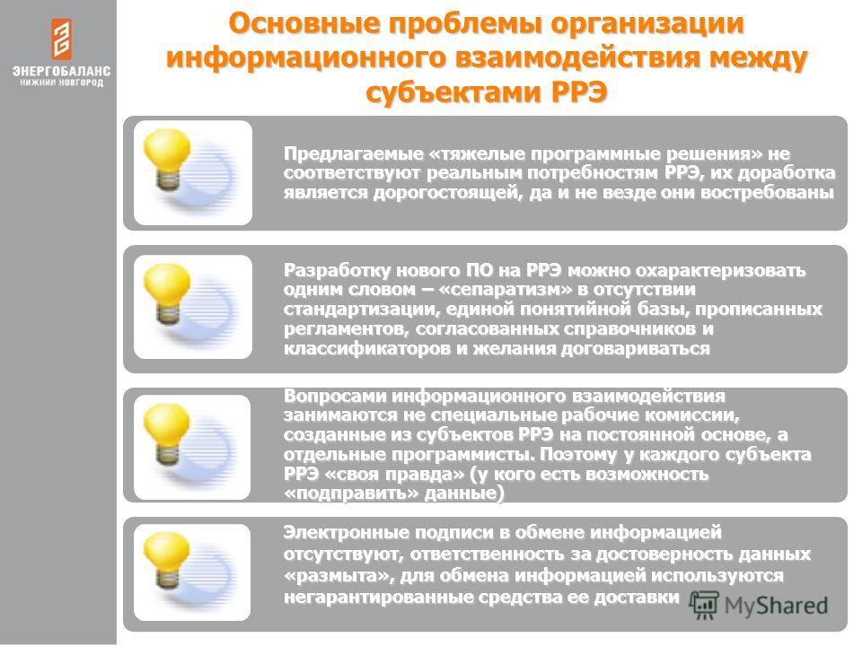 Основные проблемы организации информационного взаимодействия между субъектами РРЭ Предлагаемые «тяжелые программные решения» не соответствуют реальным потребностям РРЭ, их доработка является дорогостоящей, да и не везде они востребованы Разработку но