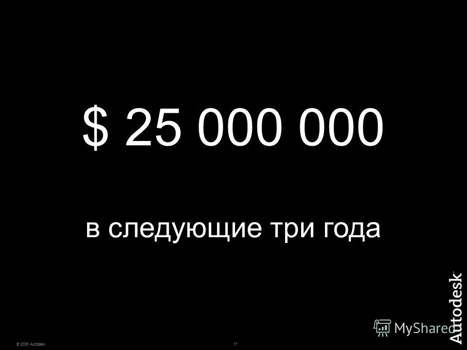 17© 2006 Autodesk $ 25 000 000 в следующие три года