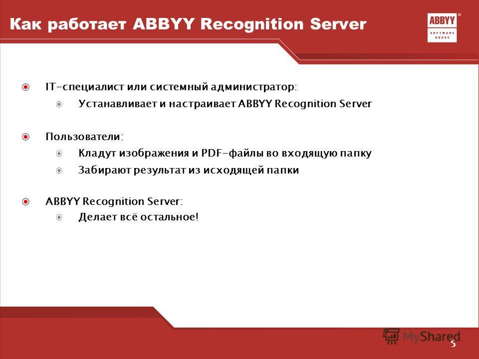 5 Как работает ABBYY Recognition Server IT-специалист или системный администратор: Устанавливает и настраивает ABBYY Recognition Server Пользователи: Кладут изображения и PDF-файлы во входящую папку Забирают результат из исходящей папки ABBYY Recogni