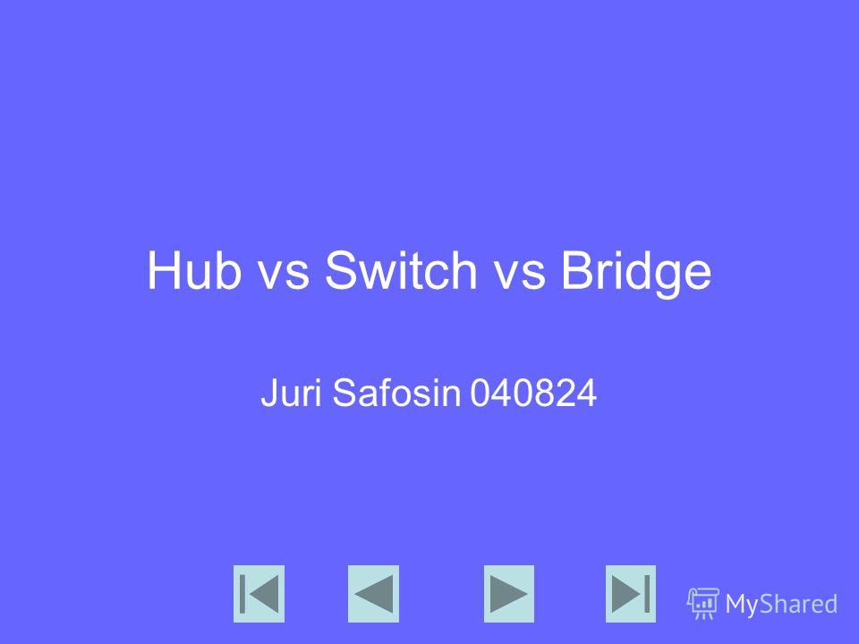 Hub vs Switch vs Bridge Juri Safosin 040824