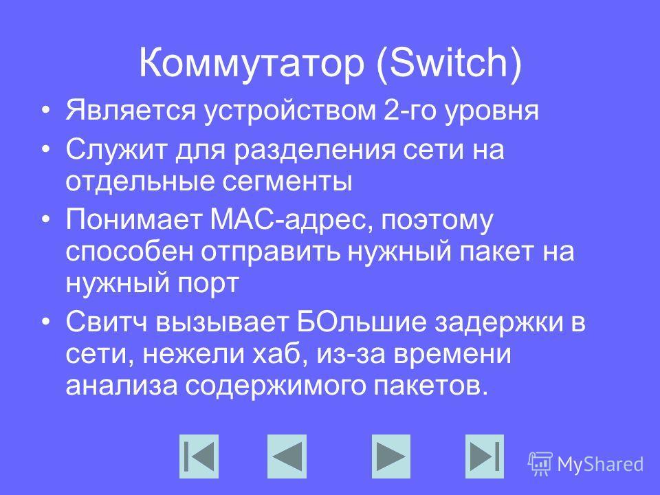 Коммутатор (Switch) Является устройством 2-го уровня Служит для разделения сети на отдельные сегменты Понимает МАС-адрес, поэтому способен отправить нужный пакет на нужный порт Свитч вызывает БОльшие задержки в сети, нежели хаб, из-за времени анализа