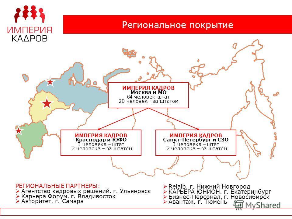 Региональное покрытие ИМПЕРИЯ КАДРОВ Москва и МО 64 человек-штат 20 человек - за штатом ИМПЕРИЯ КАДРОВ Краснодар и ЮФО 3 человека – штат 2 человека – за штатом ИМПЕРИЯ КАДРОВ Санкт-Петербург и СЗО 3 человека – штат 2 человека – за штатом РЕГИОНАЛЬНЫЕ