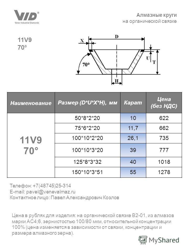 Алмазные круги на органической связке 11V9 70° Цена в рублях для изделия: на органической связке В2-01, из алмазов марки АС4;6, зернистостью 100/80 мкм, относительной концентрации 100% (цена изменяется в зависимости от связки, концентрации и размера