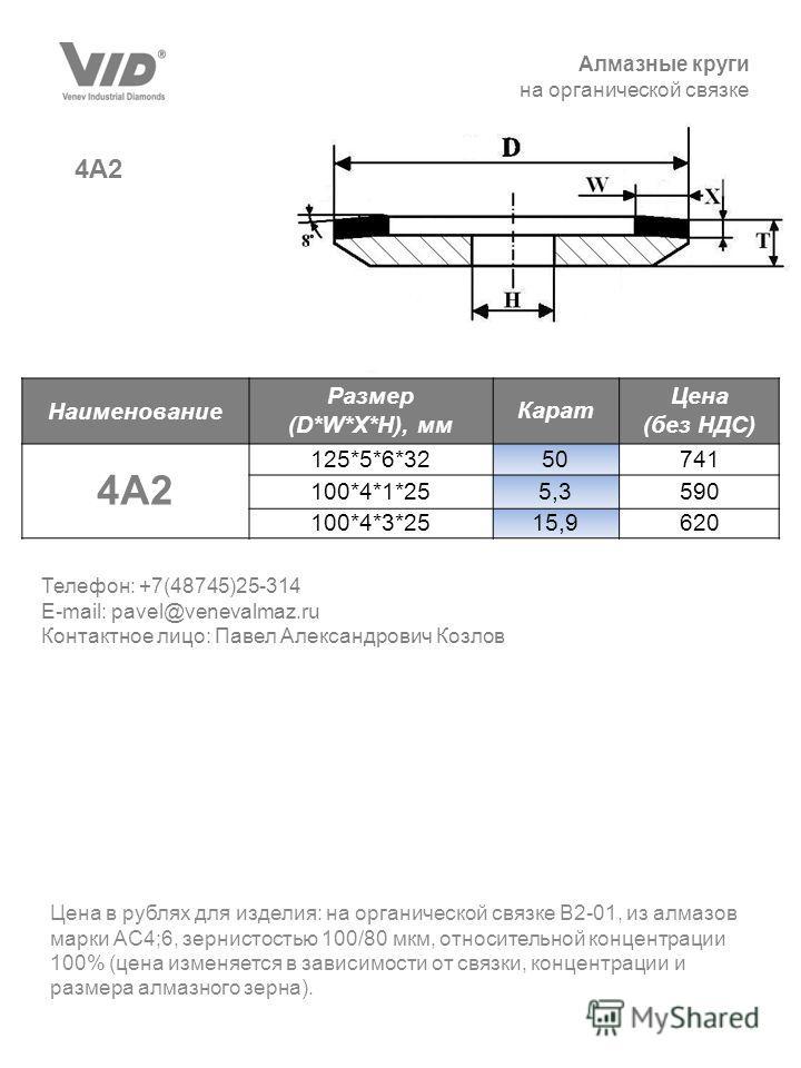 Алмазные круги на органической связке 4А2 Цена в рублях для изделия: на органической связке В2-01, из алмазов марки АС4;6, зернистостью 100/80 мкм, относительной концентрации 100% (цена изменяется в зависимости от связки, концентрации и размера алмаз