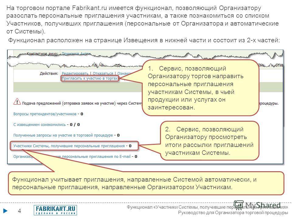 4 На торговом портале Fabrikant.ru имеется функционал, позволяющий Организатору разослать персональные приглашения участникам, а также познакомиться со списком Участников, получивших приглашения (персональные от Организатора и автоматические от Систе
