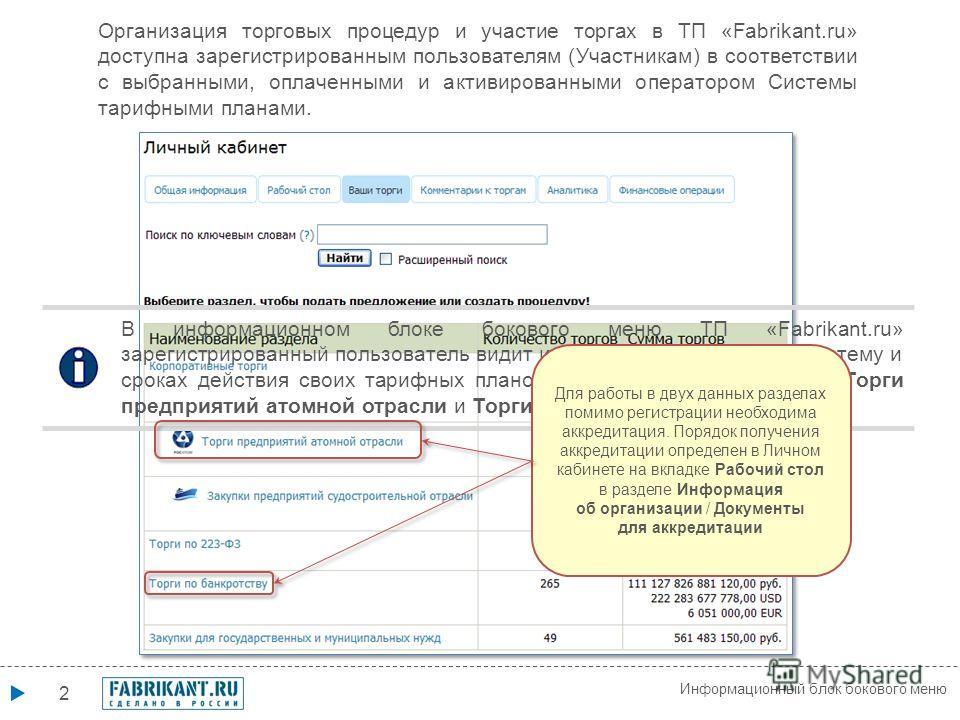 2 Информационный блок бокового меню В информационном блоке бокового меню ТП «Fabrikant.ru» зарегистрированный пользователь видит информацию о доступе в Систему и сроках действия своих тарифных планов и аккредитации в разделах Торги предприятий атомно