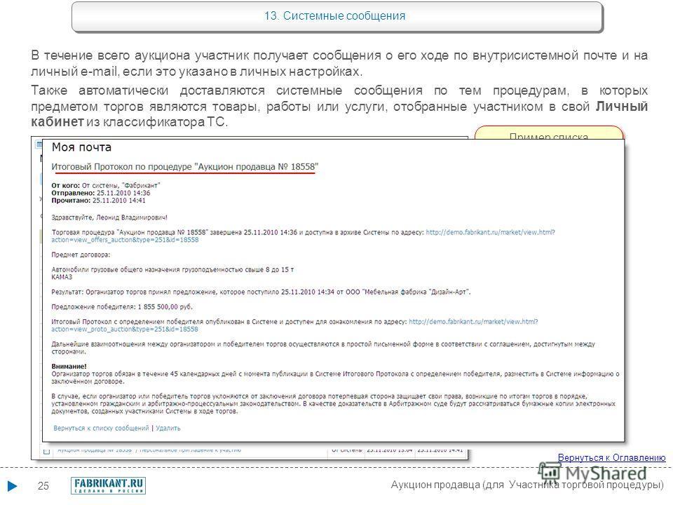 25 Аукцион продавца (для Участника торговой процедуры) Вернуться к Оглавлению 13. Системные сообщения В течение всего аукциона участник получает сообщения о его ходе по внутрисистемной почте и на личный e-mail, если это указано в личных настройках. Т