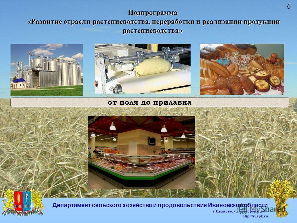 Подпрограмма «Развитие отрасли растениеводства, переработки и реализации продукции растениеводства» «Развитие отрасли растениеводства, переработки и реализации продукции растениеводства» от поля до прилавка 6 Департамент сельского хозяйства и продово