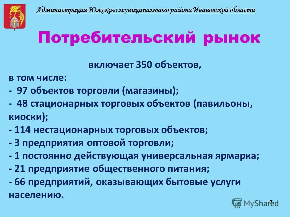 Администрация Южского муниципального района Ивановской области Потребительский рынок включает 350 объектов, в том числе: - 97 объектов торговли (магазины); - 48 стационарных торговых объектов (павильоны, киоски); - 114 нестационарных торговых объекто