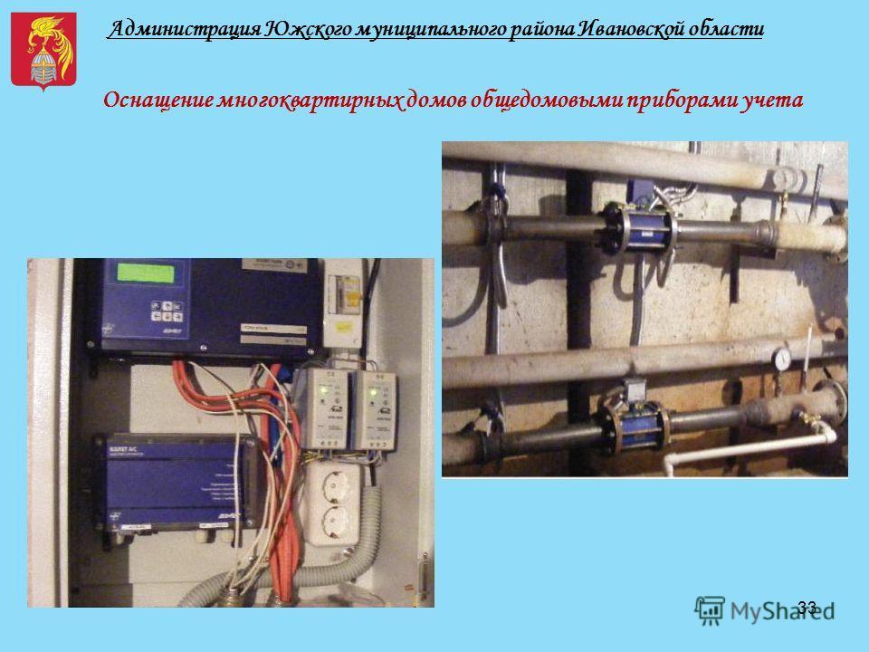 Администрация Южского муниципального района Ивановской области Оснащение многоквартирных домов общедомовыми приборами учета 33